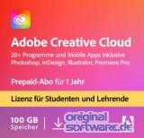 Adobe Creative Cloud Komplett-Abo/alle Applikationen für Student & Teacher | Laufzeit 1 Jahr