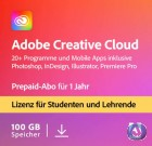 Adobe Creative Cloud Komplett-Abo/alle Applikationen für Student & Teacher | Laufzeit 1 Jahr